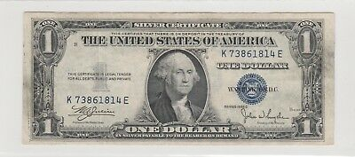 1935 C  $1 , 1 Dollars Us Blue Seal Silver Certificate  Note Circulated 814E