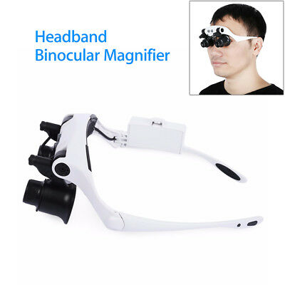 Headband Binoculars Magnifier Glasses w/ Headlamp For Watch PCB Working Repair