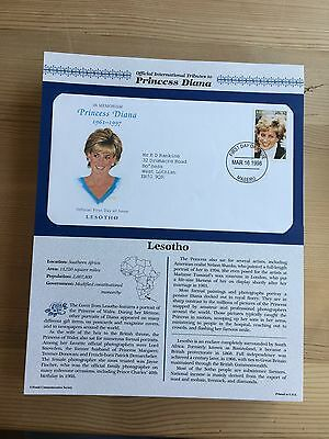 Lesotho 1998 Fdc Danbury Mint Princess Diana Royalty Tribute Memorial Issue