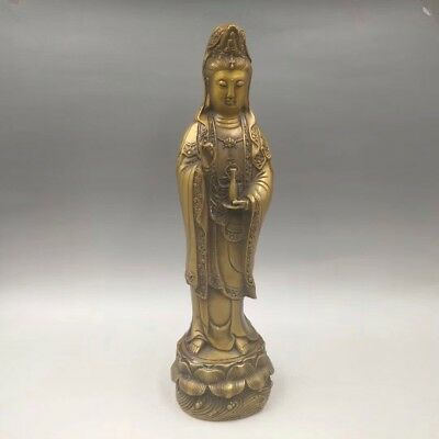 """13"""" Chinese Antique Old bronze sculpture Guanyin Buddha statue Home decoration"""