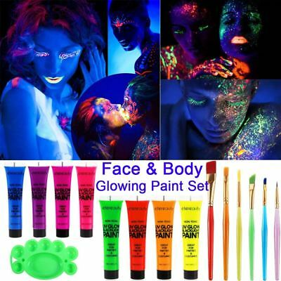 UV Glow Neon Face & Body Paint Festival Make Up Party Set of 8 Tubes Fluorescent