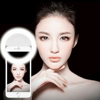 Portable Selfie LED Ring Fill Light Camera Photography For Android i Phone Black