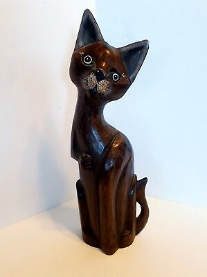 "Vintage Home Decor Hand-Crafted  Wooden Cat 15"" Tall So Cute"