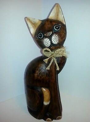 "Vintage Home Decor Hand-Crafted  Wooden Cat 15"" Tall Very Cute"