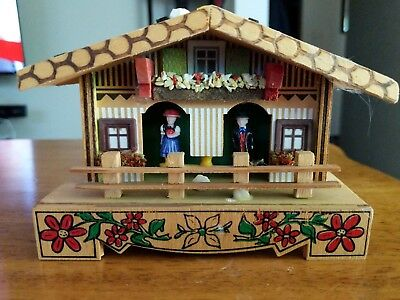 """Vintage 4""""x 5-1/2"""" German Weather House by Bambi - Colorful Details!"""