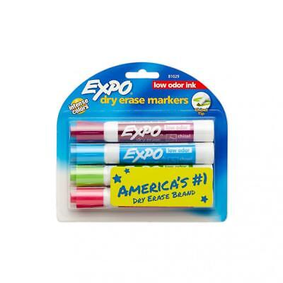 EXPO Low Odor Dry Erase Markers, Chisel Tip, Intense Colors, 4 Pack
