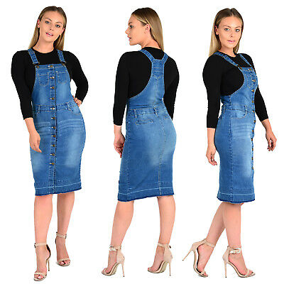 Womens Ladies Pinafore Dungaree Button Long Dress Jeans Skirt Blue UK Sizes 8-16