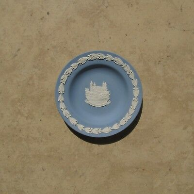 "Wedgwood Blue Jasperware 4"" Vintage China Trinket Plate with the Tower of London"