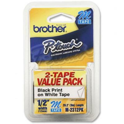 "Brother P-Touch M Series Tape Cartridges for Labelers, 1/2""w, Black on..."