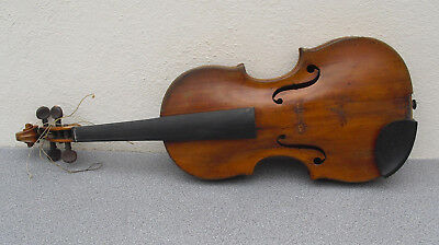 Antique violin for restoration with case double headed eagle stamp to back