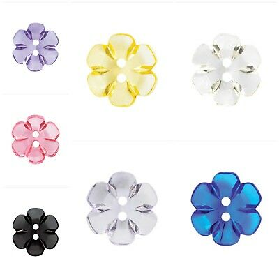 Fine Style Two Hole Transparent Floral Buttons Wholesale Packs