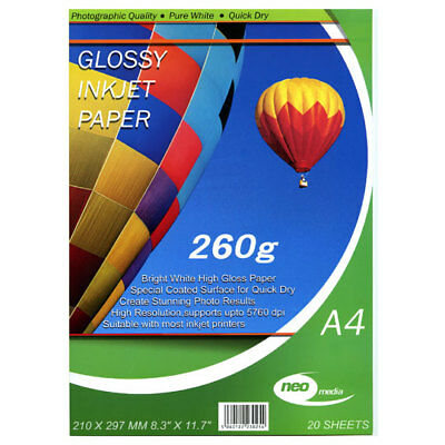 NEW NEO-MEDIA 20 pack of A4 260gsm Gloss Photo paper high quality