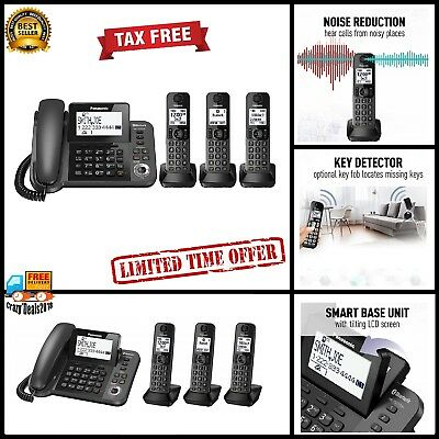 Panasonic DECT Cordless Phone 3-Handset Landline Telephone w/ Answering Machine