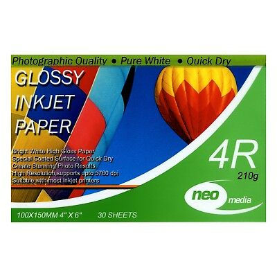 6x4 210gsm Photo Gloss Paper 30 Sheets Neo Media 4R