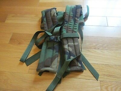 MOLLE II Frame SHOULDER STRAPS With QUICK RELEASE WOODLAND CAMO EXCELLENT COND!