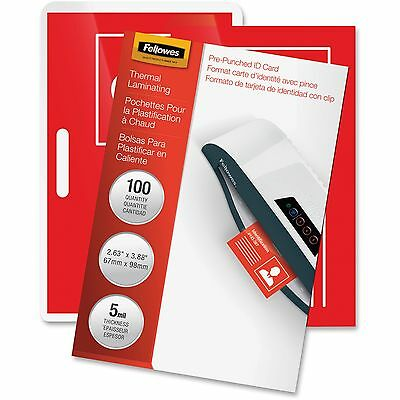 "Fellowes Laminating Pouches Punched 2-5/8""x3-7/8 100/PK CL 52016"