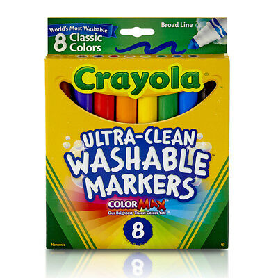 Crayola Washable Coloring Markers   8Ct Per Bx Colors 6 Bx 7808