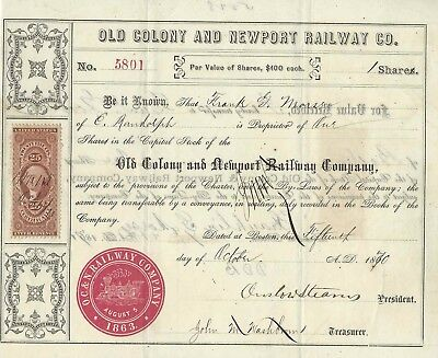 Old Colony and Newport Railway Co. (Aktie) -1870-