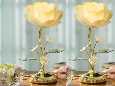 "2 Glass Lotus Flowers Touch Lamp Table Decoration w/ 3 Light Settings 14-3/4""H"