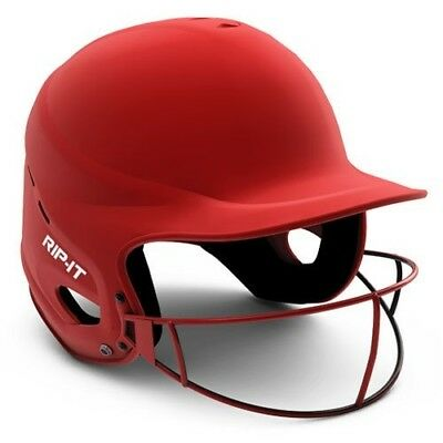 (Medium/Large, Matte Scarlet) - Rip-It Vision Pro Matte Softball Helmet