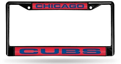 Chicago Cubs BLACK LASER FRAME Chrome Metal Licence Plate Cover Tag Baseball