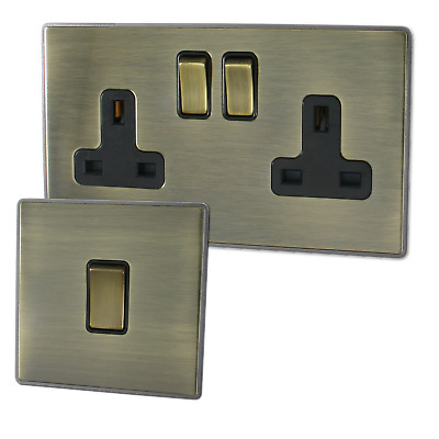 Screwless Antique Brass Sockets and Switches