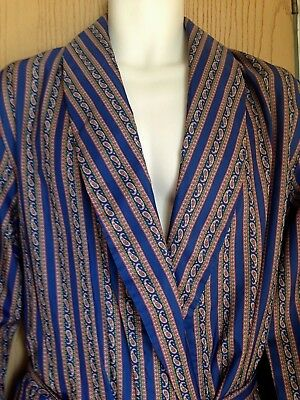 Mens dressing gown size Medium vintage 1970s Tootal blue paisley smoking jacket