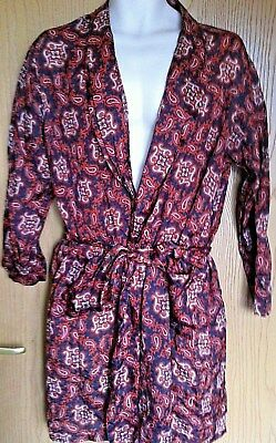 Mens dressing gown size medium vintage 1970s Tootal brown paisley smoking jacket