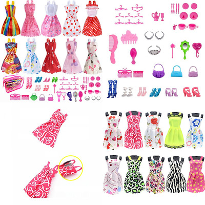 Barbie Doll Clothes Set Include Party Grown Outfits + Dolls Accessories Shoes Ba