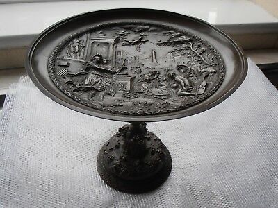 Old antique French Bronze metal TAZZA marked PARIS c.1920? Roman Classical Scene