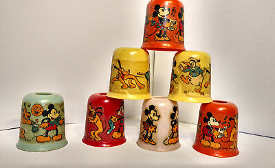 Vintage 1930s Mickey Mouse Christmas Light covers Disney (7 in set)