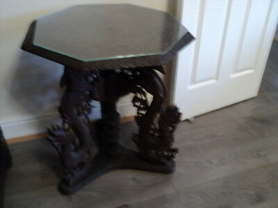 Antique Oriental/Chinese wooden hand carved Table With Glass Top
