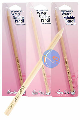 Hemline Water Soluble Pencil. Ideal  For Quilting,embroidery,sewing - 3 Colours