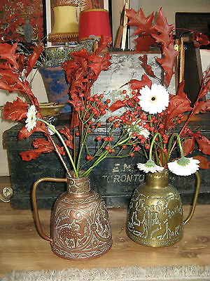 Interesting Pair of Large Vintage Algerian Jugs Vessels Copper Brass