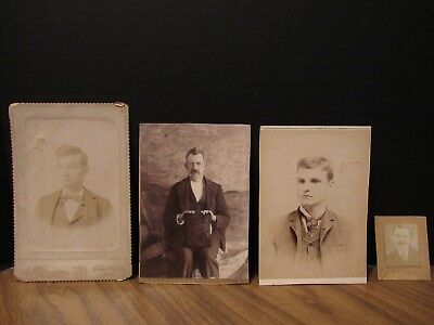 Antique Mixed Photos & Cabinet Cards - Men- Sepia - Very Old - Lot of 4
