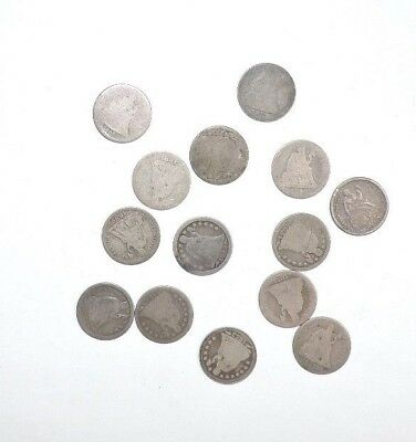 Bargain Lot Of 14 Seated Liberty Silver Dimes 1853-1891 Various Grades