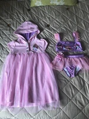 Beautiful Disney Store Princess Bikini Matching Cover Up Immaculate Age 5-6