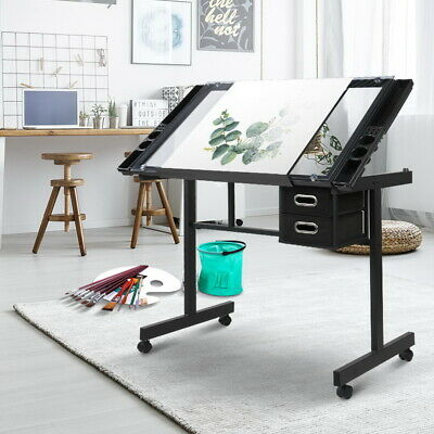 Drafting Drawing Craft Table Adjustable Tilt Castors Art Glass Desk Black & Gray