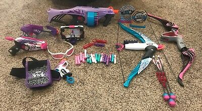 Huge Lot of Nerf Rebelle Guns Bows Blasters Bullets Accessories