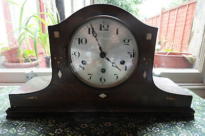 Vintage Inlaid Napoleon's Hat Mantle Clock with Westminster Chimes