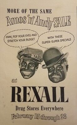 1950's Vintage Rexall Drug Stores Amos 'N Andy Blackface Advertisement