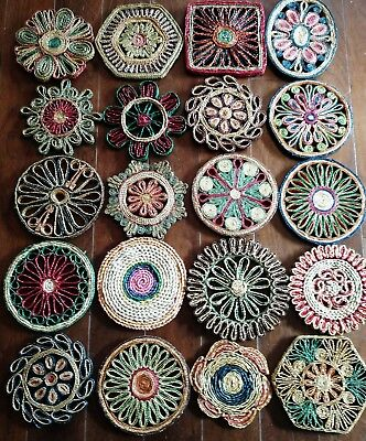 Vintage Mid Century 60s 70s Straw Woven Wicker Trivets Hot Pads Wall Hangings