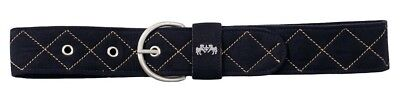(X-Large, Black/Tan) - Equine Couture Quilted Suede Belt. Free Delivery
