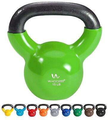 (15 lbs ( Green )) - Wacces Single Vinyl Dipped Kettlebell for Croos Training,