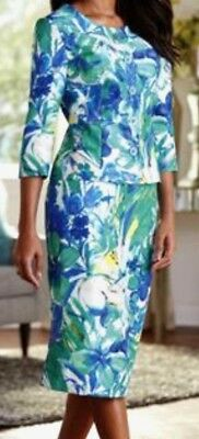 Teal Blue Abstract Floral Shantung Skirt Set Plus 16W Spring Church Easter Suit