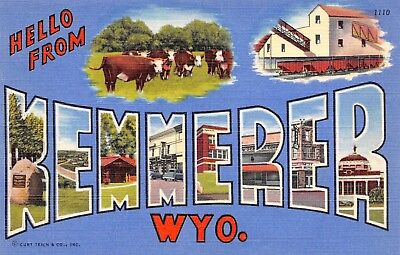 B7954 Hello from Kemmerer Wyo. Cattle '50 Large Letter Linen PC Teich No. 0C-H31