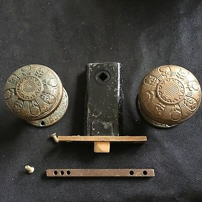 Antique Nashua VICTORIAN Eastlake  Cast Bronze DoorKnobs, Rosettes And Latch 5