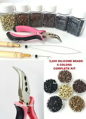 3,000 Silicone Micro Rings Beads Feather Hair Extension COMPLETE TOOL KIT HOOK