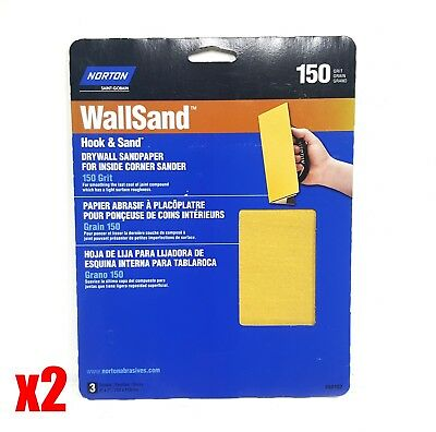 "Norton WallSand 8"" x 7"" Hook & Sand Corner Drywall Sandpaper 150 Grit 3 Pack"