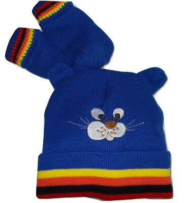 Infant Toddler Baby Boy Knitted Hat and Mittens set (12-36 Months) Blue or Black